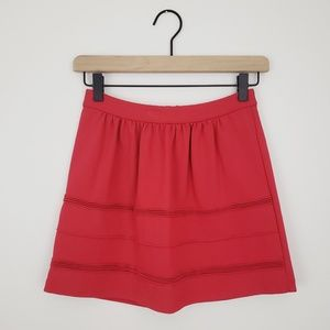 [ J. Crew ] Red Swingy Stretch Mini Skirt